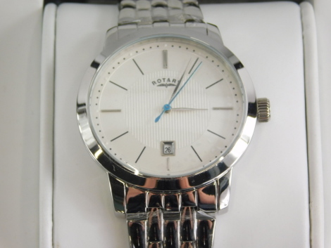 A stainless steel Rotary gent's wristwatch, with white dial, blue seconds hand and date aperture, numbered GB42825/02 (14717), waterproof to 100m, the dial 4cm wide, boxed.