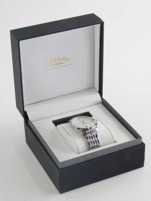A stainless steel Rotary gent's wristwatch, with white dial, blue seconds hand and date aperture, numbered GB42825/02 (14717), waterproof to 100m, the dial 4cm wide, boxed. - 2