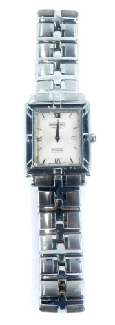 A Raymond Weil Parsifal gentleman's wristwatch, with rectangular watch head, silvered finish dial with date aperture, blue stone set winder, on stainless steel backing and bracelet, numbered 9331 & B512048, boxed, with extra links.