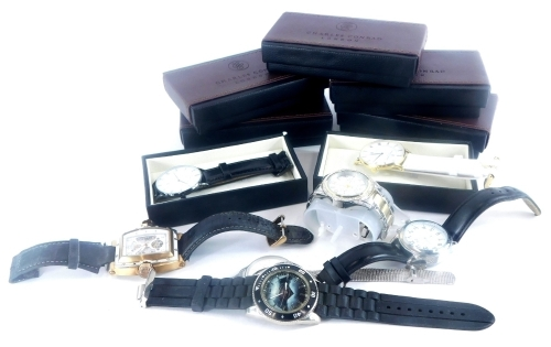 A group of gentlemans wristwatches, to include seven cased Charles Conrad of London wristwatches, a Batman wristwatch, Radley watch, T&J gentlemans wristwatch, etc. (a quantity)