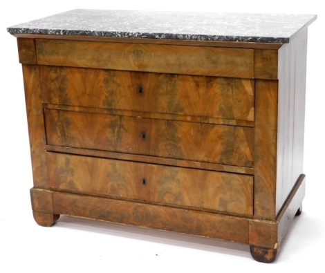 A 19thC French commode, with a grey marble top above four long drawers, on bracket feet, 114cm wide.