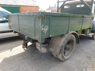 A 1955 Ford Thames SWB lorry, registration VSV 489, twin axle historic vehicle with boarded flat bed, green, first or re-register date March 1986 after restoration project, odometer reading 8,664, tax expired 1st April 1997, with V5 present. - 4