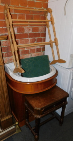 A bathroom sink, with fitted cabinet, towel rail, stool and a side table. (4)