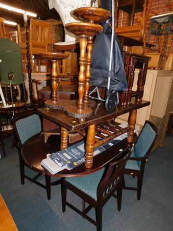 A table and four chairs, coffee table, nest of tables, etc. (a quantity) The upholstery in this lot does not comply with the 1988 (Fire & Fire Furnishing) Regulations, unless sold to a known exporter or upholsterer it will be cut from the frame before lea