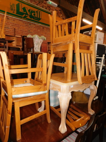 A limed oak occasional table, together with five pine chairs. (6)