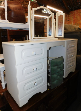 A white melamine dressing table, with stool and tryptic mirror. (3)