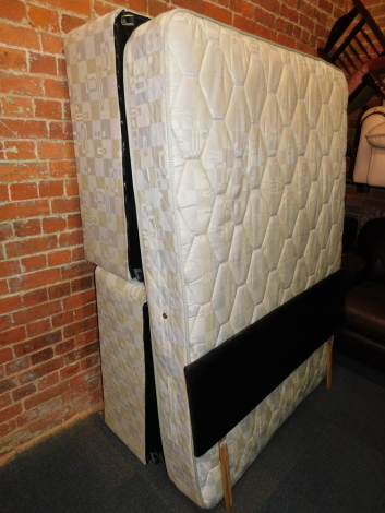 A divan bed and mattress, with a black leatherettte headboard. (3)