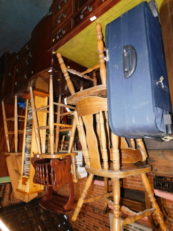 Two bar chairs, two kitchen chairs, a DVD rack, magazine rack and two cases. (8)