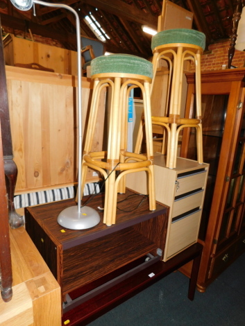 A coffee table, bar stools, lamp, filing cabinet and television stand. (6)