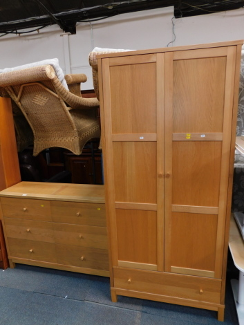 An oak and beech part bedroom suite, comprising two door wardrobe and a matching chest of six drawers. We have instructions from vendor to sell without reserve.