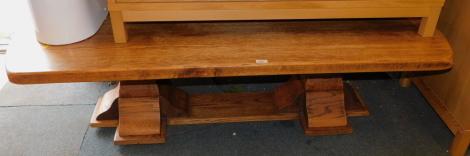 A Belgian oak coffee table.
