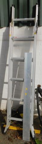 An aluminium stepladder, welder's mask, level and a brass letter box. (4)