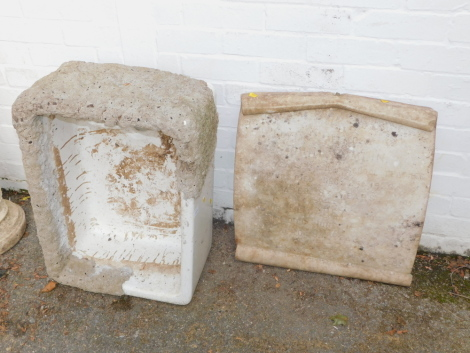A Belfast sink, with stone effect coating, together with a marble grave stone named to John Tomlin Died 1920 and Elizabeth Tomlin Died 1920. (2)