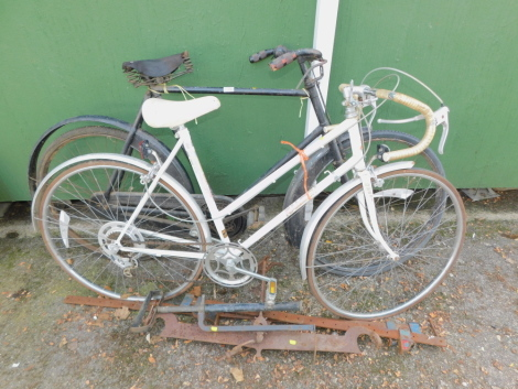 A Raleigh vintage bicycle, together with an unmarked bicycle, black, two sash cramps, etc. (a quantity)