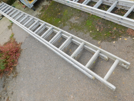 A two section extending ladder.
