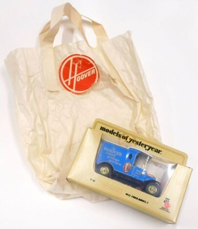 A limited edition Matchbox Models of Yesteryear van, made to celebrate the 75th Anniversary of Hoover, with signed certificate number 324 and original Hoover bag supplied with the item.