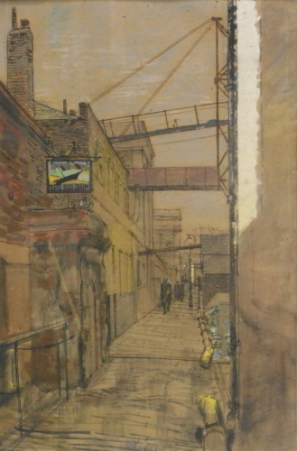 Ruskin Spear (1911-1990). Outside the Old Ship, Chiswick, watercolour, 54cm x 35cm. Label verso Abbot and Holder London.