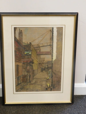 Ruskin Spear (1911-1990). Outside the Old Ship, Chiswick, watercolour, 54cm x 35cm. Label verso Abbot and Holder London. - 2