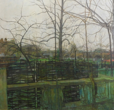 William Bowyer (1926-2015). Garden Terrace, oil on canvas, signed, 121cm x 121cm. Artist label verso.