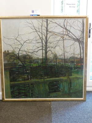 William Bowyer (1926-2015). Garden Terrace, oil on canvas, signed, 121cm x 121cm. Artist label verso. - 2