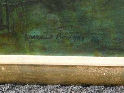 William Bowyer (1926-2015). Garden Terrace, oil on canvas, signed, 121cm x 121cm. Artist label verso. - 3