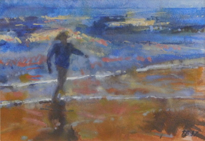 Francis Bowyer (b.1952). Figure on the beach, watercolour, signed and dated (19)97, 18cm x 25cm.