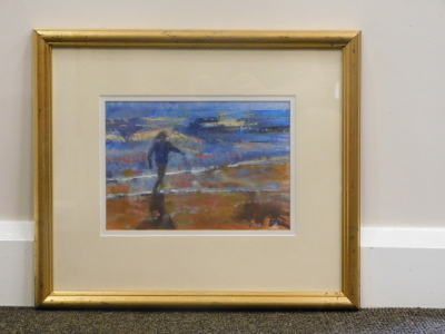 Francis Bowyer (b.1952). Figure on the beach, watercolour, signed and dated (19)97, 18cm x 25cm. - 2