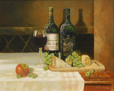 Paul Attfield (b.1950). Cheese and Wine still life, oil on board, signed, 39cm x 50cm.