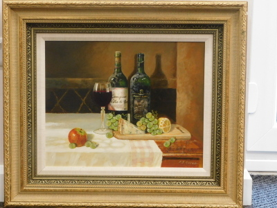 Paul Attfield (b.1950). Cheese and Wine still life, oil on board, signed, 39cm x 50cm. - 2