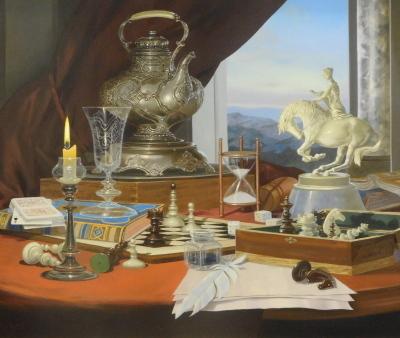 Gyula Boros (b.1951). Still life - chess, oil on board, signed, 49cm x 59cm.