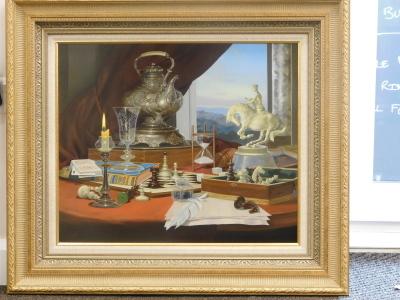 Gyula Boros (b.1951). Still life - chess, oil on board, signed, 49cm x 59cm. - 2