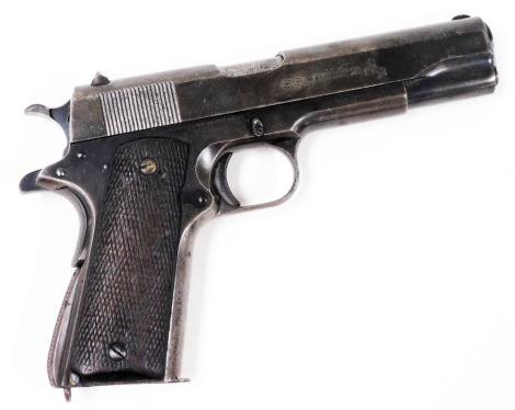 """A deactivated Colt .45"""" semi automatic government model pistol, Ser. No. C185656, barrel length 5"""". Certificate No. 158119 was issued on the 25/11/2020 and the cost of changing the gun from the old British certification to the new European Union rules w"""