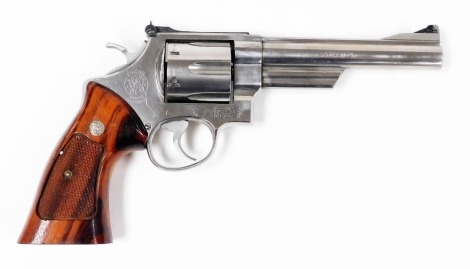 """A deactivated Smith & Wesson .44"""" Magnum revolver, Ser. No. AUY5805, barrel length 6"""". Certificate No. 157554 was issued on the 02/10/2020 and the cost of changing the gun from the old British certification to the new European Union rules was £250 but i"""