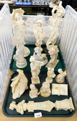 A group of white and cream finished resin figures, to include warriors on horseback, figures of ladies, swans, dancing ornaments, etc. (2 trays)