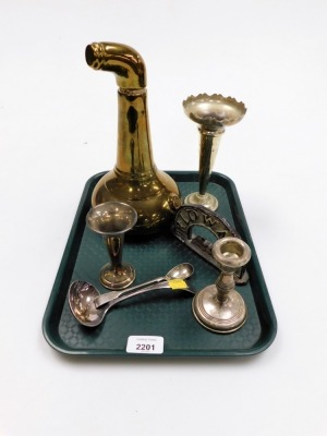 A group of silver plated and brass wares, to include a silver plated vase, a Ridgeware stoneware arch, and a lustre ceramic decanter. (1 tray)