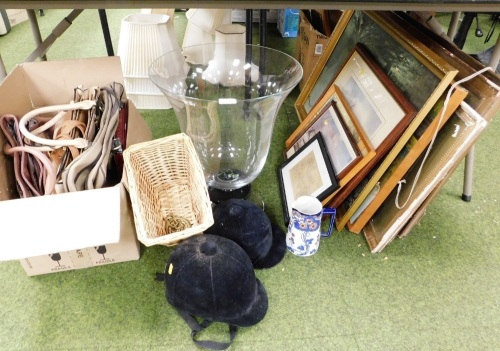 Miscellaneous trinkets and effects, large glass vase, handbags, pictures, riding hats, Art Nouveau style jug, etc. (all under 1 table)