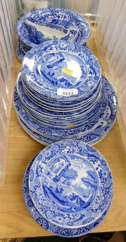 A group of blue and white Copeland Spode's Italian china, to include dinner plates, serving plates, gravy boat, etc. (a quantity)