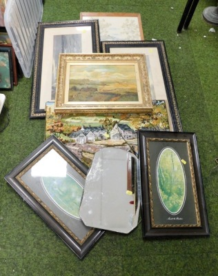 A group of framed pictures and prints, a pair of Victorian watercolours after Hapland, embroideries, coastal scenes, mirror, etc. (a quantity)