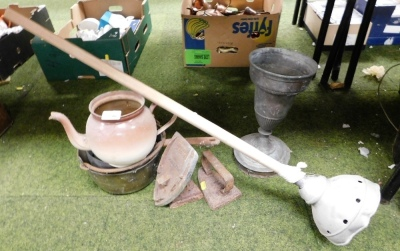 Various metalware and effects, posher, goblet, teapot, irons, etc.