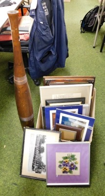 A group of pictures and prints, black and white photographs, cricketing print, pencil sketch of country house, modern wooden vase, etc. (1 box)