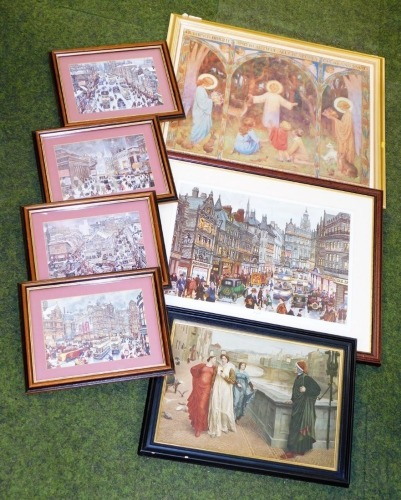 After Geo. Cunningham. Set of four Sheffield city colour prints, blind stamped, fargate and two others. (7)