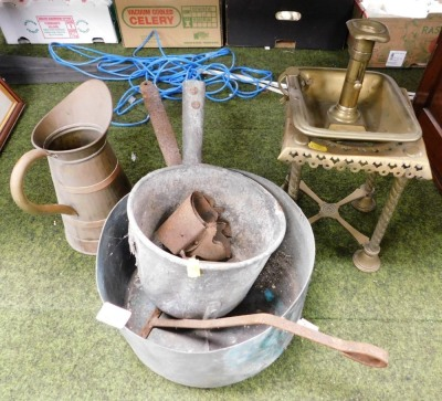A group of copper and brass wares, a skillet pan, brass trivet stand, candlestick, etc. (a quantity)