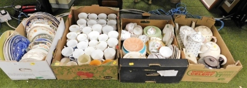 Various china and effects, plates, commemorative mugs, part tea services, teapots, etc. (4 boxes)