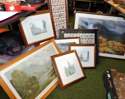Various framed pictures and prints, two framed sets of cigarette cards, prints of mountainous landscapes, a highland cow print, etc. (a quantity)