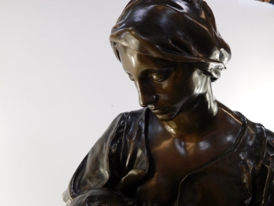 Paul Dubois (French, 1829-1905). A Barbedienne foundry bronze sculpture of Maternite, signed to reverse P Dubois, 80cm high. - 2