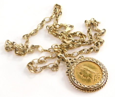 A Victorian full gold sovereign pendant and chain, the sovereign dated 1889 in a 9ct gold pendant mount, on 9ct gold belcher chain, 60cm long overall, 16.1g all in.