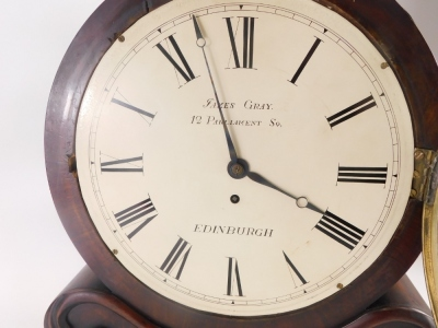 An early Victorian figured mahogany mantel clock, the drum shaped case with painted dial for James Gray, 12 Parliament Square, Edinburgh, the rectangular base embellished with foliate scrolls, fusee movement, 45cm high. - 2