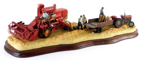 A Border Fine Arts painted composition group Bringing In The Harvest, depicting a combine harvester, etc. with original packaging numbered B0735.