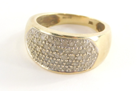 A 9ct gold half hoop dress ring, with pave set cz stones, in white gold setting on a yellow metal band, stamped 9k, ring size T, 6.1g all in.