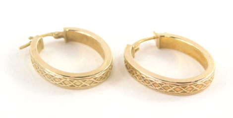 A pair of 9ct gold hoop earrings, each with woven decoration, 3cm drop, 1.8g.